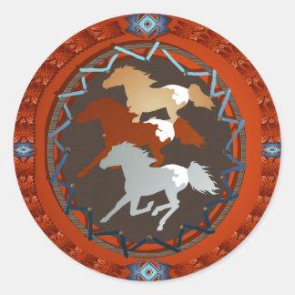 Horse and Shield-Sticker Round Sticker