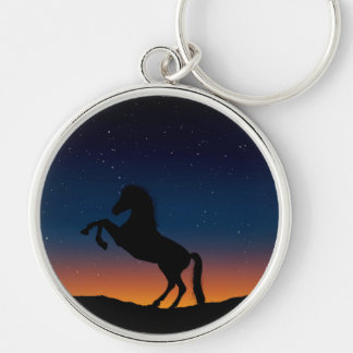 Horse Animal Nature Silver-Colored Round Keychain
