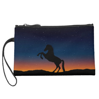 Horse Animal Nature Suede Wristlet