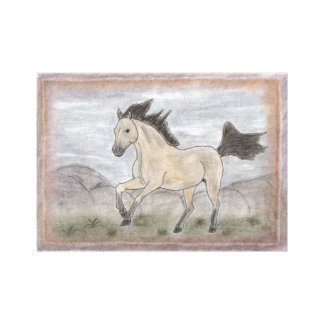HORSE ART RUNNING BEIGE AND BLACK  MUSTANG HORSE CANVAS PRINT