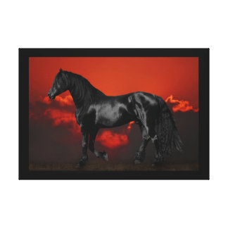 Horse at sunset gallery wrap canvas