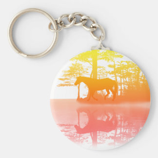 Horse At Twilight Basic Round Button Keychain