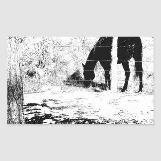 Horse Behind Fencepost in Pen and Ink Rectangle Stickers