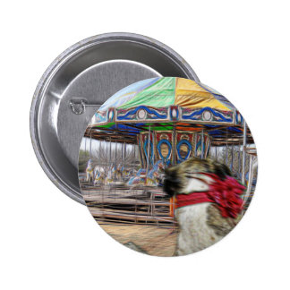 Horse Carousel 2 Inch Round Button