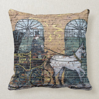Horse Carriage Mural Downtown Nashville Tennessee Throw Pillow
