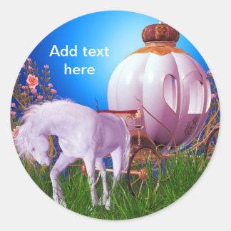 Horse Carriage Princess Royal Princess Labels Round Sticker