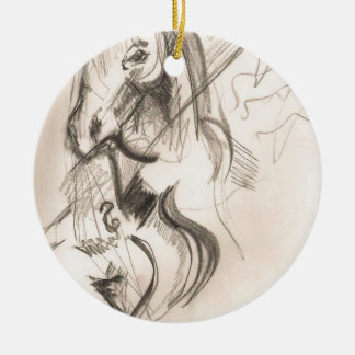 Horse Cello Drawing Design Ceramic Ornament