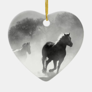 horse ceramic heart ornament