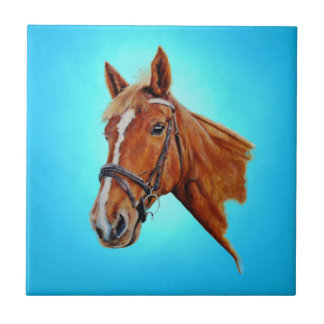 Horse, chestnut mare with a white blaze, painting. tiles