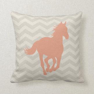 Horse Chevron Pattern Peach Grey Cream Throw Pillow