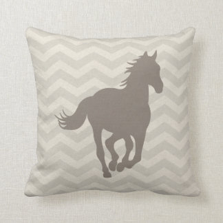 Horse Chevron Pattern Taupe Grey Cream Throw Pillow