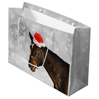 Horse Christmas Greetings Large Gift Bag