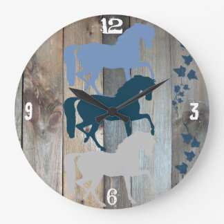 Horse Clock Wood Background