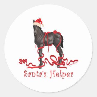 Horse Colt Santa's Helper Santa's Hat Classic Round Sticker