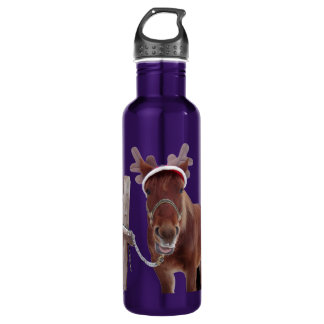 Horse deer - christmas horse - funny horse 710 ml water bottle