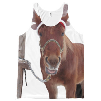 Horse deer - christmas horse - funny horse All-Over-Print tank top