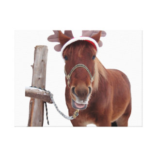 Horse deer - christmas horse - funny horse canvas print