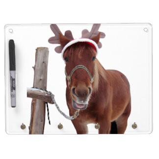 Horse deer - christmas horse - funny horse dry erase board with keychain holder