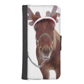 Horse deer - christmas horse - funny horse iPhone SE/5/5s wallet case