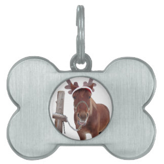 Horse deer - christmas horse - funny horse pet name tag