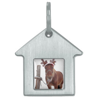 Horse deer - christmas horse - funny horse pet tag