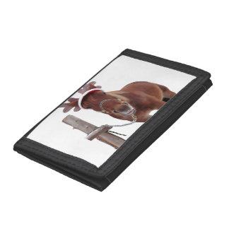 Horse deer - christmas horse - funny horse tri-fold wallet