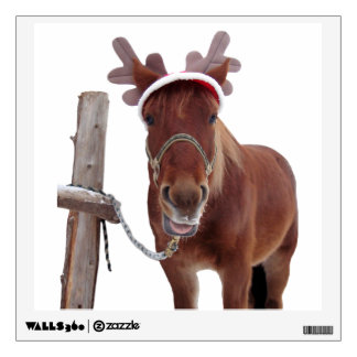Horse deer - christmas horse - funny horse wall sticker