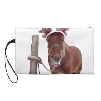 Horse deer - christmas horse - funny horse wristlet