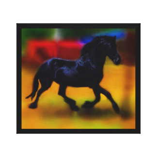 Horse doing dressage stretched canvas prints