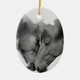 Horse double exposure -horses in love -wild horses ceramic ornament