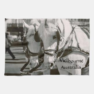 Horse drawn carriage ride Melbourne, Australia Kitchen Towel
