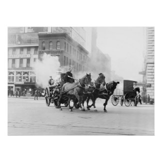 Horse Drawn Fire Engine, early 1900s Poster