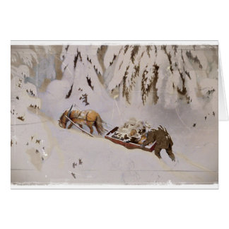 Horse Drawn Sled in the Woods Card