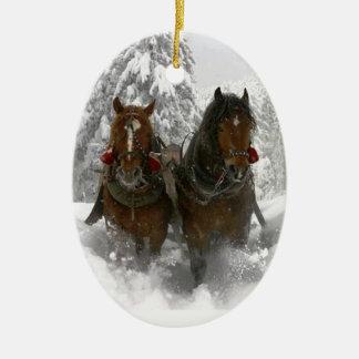 horse drawn sleigh christmas ceramic oval ornament