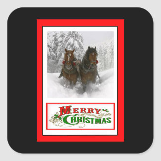 horse drawn sleigh christmas square sticker