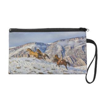 Horse Drive Through the Snow 3 Wristlet Purse
