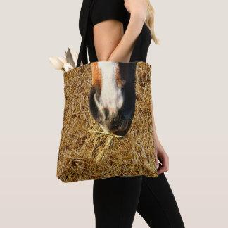 Horse Eating Hay Print Tote Bag