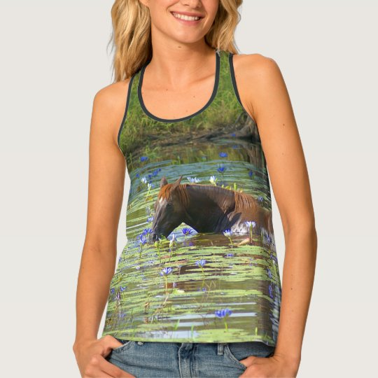 Horse eating in the lake, Australia, AllOver Photo Tank Top