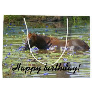 Horse eating in the lake, Australia, Photo Large Gift Bag