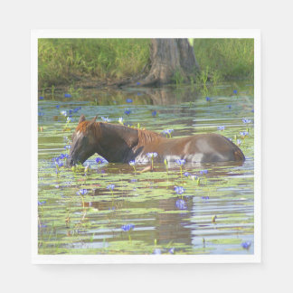 Horse eating in the lake Australia, Photo Luncheon Paper Napkins
