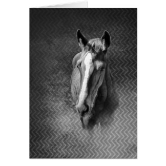 Horse emerging from mist vertical card