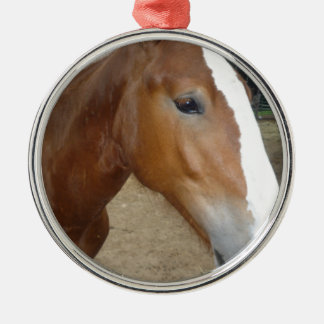 Horse face Silver-Colored round ornament