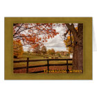 Horse Farm, Autumn Landscape, Thanksgiving Card