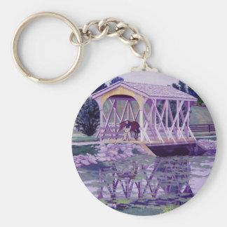 Horse Farm Bridge Basic Round Button Keychain