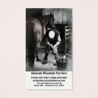 Horse Farrier Services - Hoof Trim and Shoe Business Card