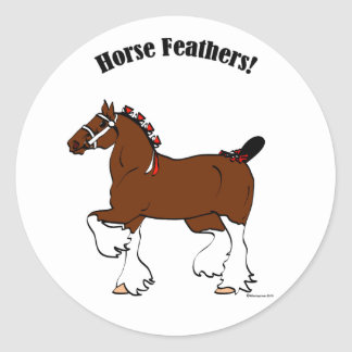 Horse Feathers! Round Sticker