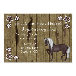 Horse, Flowers, Wood Bkg Western Birthday Invite