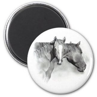 HORSE: FOAL: PENCIL ART: REALISM 2 INCH ROUND MAGNET