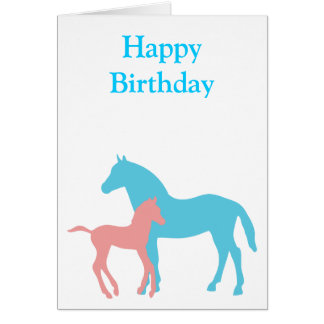 Horse & foal pink & blue silhouette birthday card