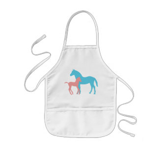 Horse & foal pink & blue silhouette kids apron